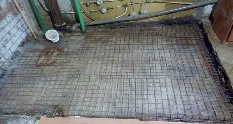 Укладка металлической сетки в стяжку ремонт ванной под ключ